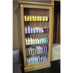 WOODEN BOOKCASE WITH GLASS SHELVES