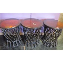 DECORATIVE WOODEN TABLES (QTY 3)