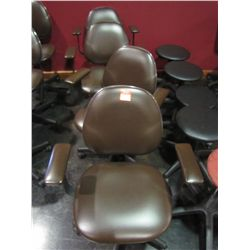 SOFT FEEL BROWN ROLL AROUND & ADJUSTABLE CHAIRS BY BELVEDERE (QTY 4)