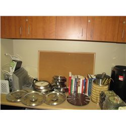 LOT CLOCKS; OFFICE SUPPLIES; TRASH CANS & BOOKS