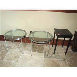 ROUND GLASSTOP TABLES (QTY 2) & WOODEN TABLE (QTY 1)