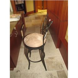 METAL STOOL WITH TAN PADDED SEAT