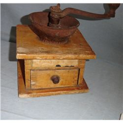 Coffee grinder, crank top, wooden bottom