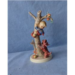 Hummel, Boy in apple tree escaping dog figurine