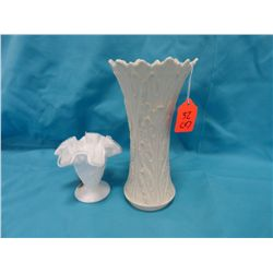 Fenton milk glass fluted vase and shoe
