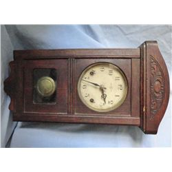 Oak wall clock, K Trademark, 19'', possibly New Haven