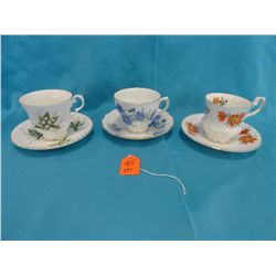 3 cup & saucer Bone China sets: Royal Windsor, Queens, Royal Vale