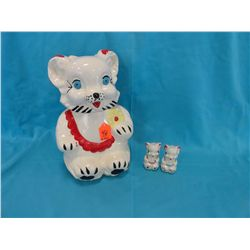 Royal Ware teddy bear cookie jar and shakers