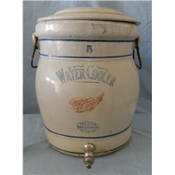 RW water cooler, 5 gal., 4'' wing, w/ spickot, cracked & chipped lid, minor chips on top lip