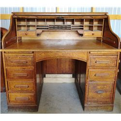 Oak S curve Roll top desk, 51''x 46''