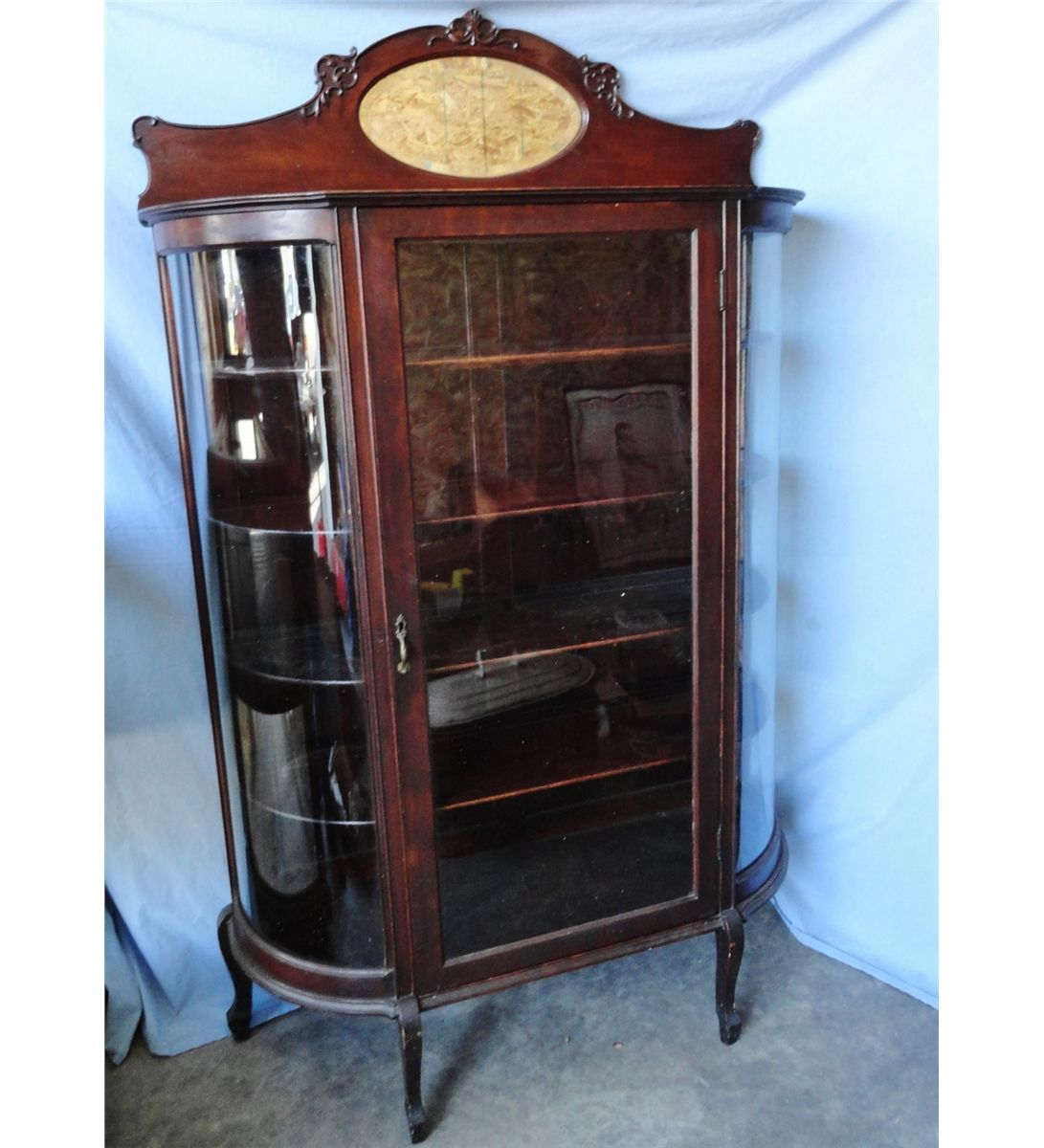 Merveilleux Mahogany Curved Glass China Cabinet, Beveled Oval Mirror. Loading Zoom