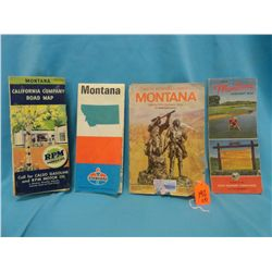 4- early Montana highway maps, 1940 Calso Oil Co., 1954 MT State Highway Comm., 1971 Standard Oil, 1