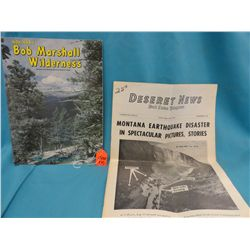 1959 Deseret News Montana earthquake disaster story; and Bob Marshall Wilderness booklet