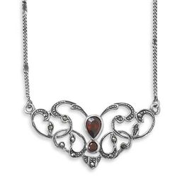 "16"" Marcasite Necklace with Red Pear Shape CZ"