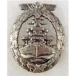 GERMAN NAZI NAVAL CRUISER BADGE MAKER MARKED F.O.