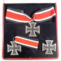 RARE GERMAN NAZI CASED KNIGHTS CROSS, 1ST CLASS AND 2ND CLASS IRON CROSSES