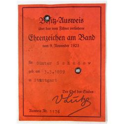GERMAN NAZI AUSWEIS ID FOR GUNTER SCHADOW