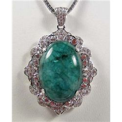 PLATINUM PLATE OVER STERLING SILVER EMERALD AND SAPPHIRE PENDANT W/ CHAIN