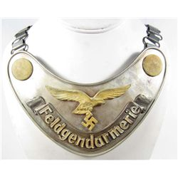 GERMAN NAZI LUFTWAFFE FELDGENDARMERIE GORGET W/ CHAIN