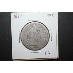 1861 US Seated Liberty Half Dollar; EST. $35-45