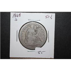 1868-S US Seated Liberty Half Dollar; EST. $35-45