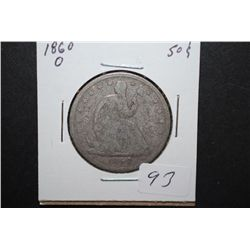 1860-O US Seated Liberty Half Dollar; EST. $35-45