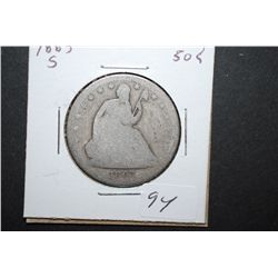 1863-S US Seated Liberty Half Dollar; EST. $35-45
