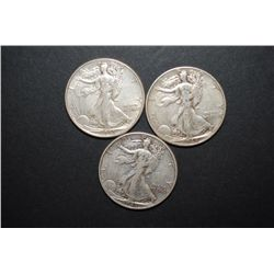 1943 (2) & 1946 Walking Liberty Half Dollar; Lot of 3; EST. $40-60