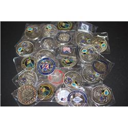 Military Challenge Medal; Various Dates, Bases, People, Etc.; Lot of 25; EST. $75-150