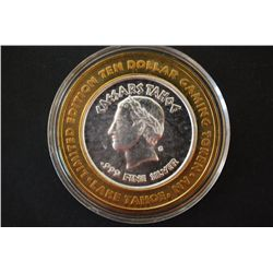 "Caesars Lake Tahoe NV ""3 of 4"" Limited Edition Two-Tone $10 Gaming Token; .999 Fine Silver; EST. $20"