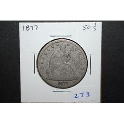 1877 US Seated Liberty Half Dollar; EST. $35-45