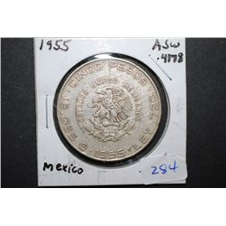 1955 Mexico Cinco (5) Pesos Foreign Coin; .4178 ASW 0.720 Ley; EST. $15-20