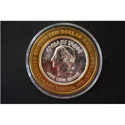 "Caesars Lake Tahoe NV ""2 of 4"" Limited Edition Two-Tone $10 Gaming Token; .999 Fine Silver; EST. $20"