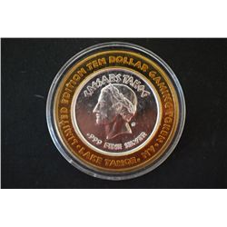 "Caesars Lake Tahoe NV ""4 of 4"" Limited Edition Two-Tone $10 Gaming Token; .999 Fine Silver; EST. $20"