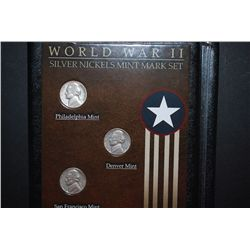 WWII Silver Nickels Mint Mark Three-Coin Set In Display Folder With History; 1943-S, 1944-D & 1944-P