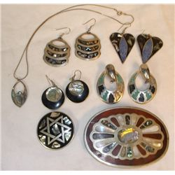 Inlayed Jewelry 4 Sets Earrings, 1-Necklace, 1-Pin ,1-Belt Buckle