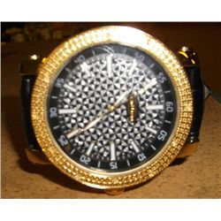 Grand Master Gold Colored Watch Watch Face is Colored Black with Clear Stones 11-00315/30577