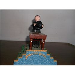 """Magician Banking Cast Iron Bank Approx. Size 7"""" Tall x 6"""" long"""