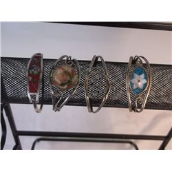 4 Mexican Silver Bracelets