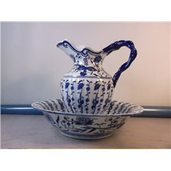 "Antique Pitcher & Bowl Set Flow Blue Bowl 14"" across 3 1/2"" Deep Pitcher is 11"" Tall x 11"" across ov"