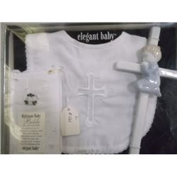 Elegant Baby Christening Set lace trimmed bib w/ embroidered cross l122