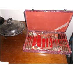 Set Of Silver Plate Silverware & Silver Plated Serving Dish