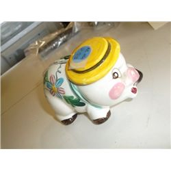 "Hand Painted Piggy Bank Signed Made in Japan Approx. 4"" Long"