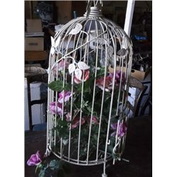 "Bird Cage With Flowers in it Approx. Size is 13"" Round 28""  Tall"