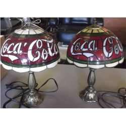 Pair of Cola Nite Stand Lamps Shade is made too look like leaded glass in Plastic with a bronze look