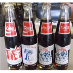 4-Coca Cola Longnecks Manteca 4th of July Celebration 1986,1987, & 2-1988 Longneck bottles wit soda