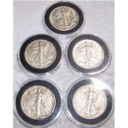 (5X$) SILVER WALKING LIBERTY HALVES AU-UNC CONDITION1935-1946