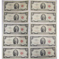(10X$) $2 U.S. NOTES VF-VU  CONDITION SERIES 1963 RED SEAL