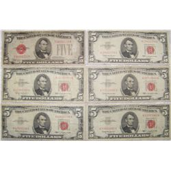 (6X$) $5 U.S. NOTES SERIES 1928-1963 RED SEAL