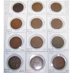 (12X$) EARLY BRITISH LARGE CENTS VF-AU CONDITION